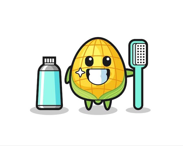 Maskottchen-illustration von mais mit einer zahnbürste, süßes design für t-shirt, aufkleber, logo-element