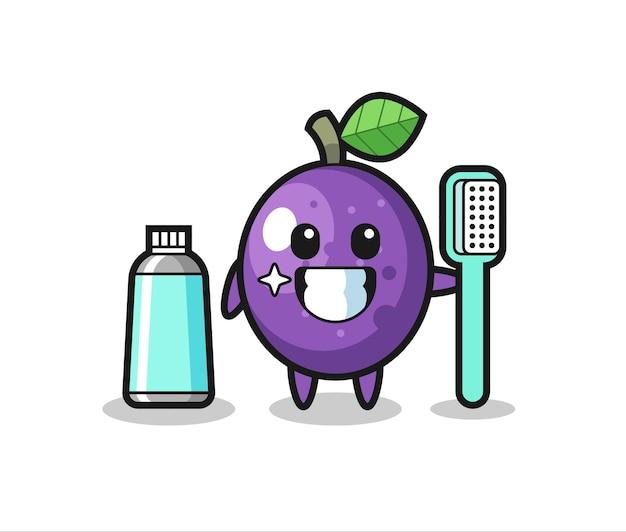 Maskottchen-illustration von passionsfrucht mit zahnbürste, süßes design für t-shirt, aufkleber, logo-element