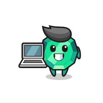 Maskottchen-illustration von smaragd-edelstein mit einem laptop, süßes design für t-shirt, aufkleber, logo-element
