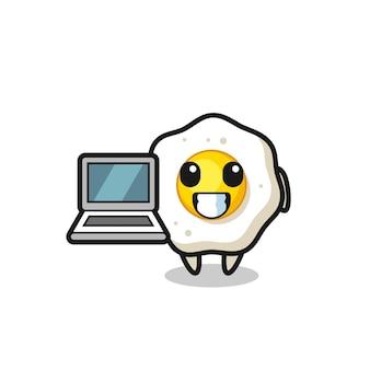 Maskottchen-illustration von spiegelei mit laptop, süßes design für t-shirt, aufkleber, logo-element