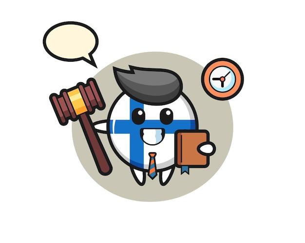 Maskottchen-karikatur des finnischen flaggenabzeichens als richter, niedliches design für t-shirt, aufkleber, logo-element