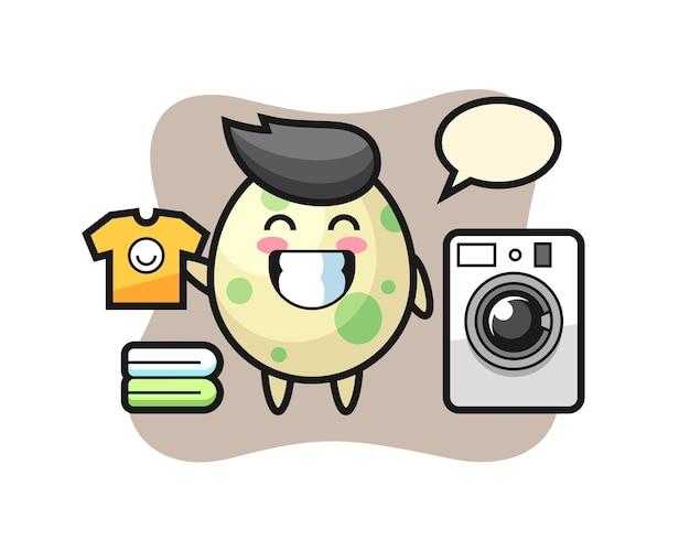 Maskottchen-karikatur von geflecktem ei mit waschmaschine, süßes design für t-shirt, aufkleber, logo-element