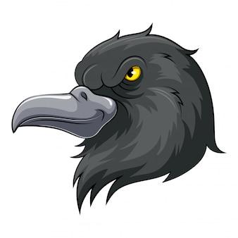 Maskottchen-kopf einer schwarzen krähe