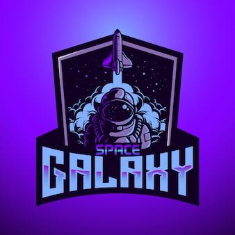 Maskottchen-logo astronaunt space galaxy