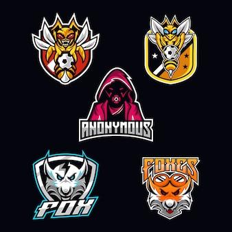 Maskottchen-logo-bundle für e-sport-logo