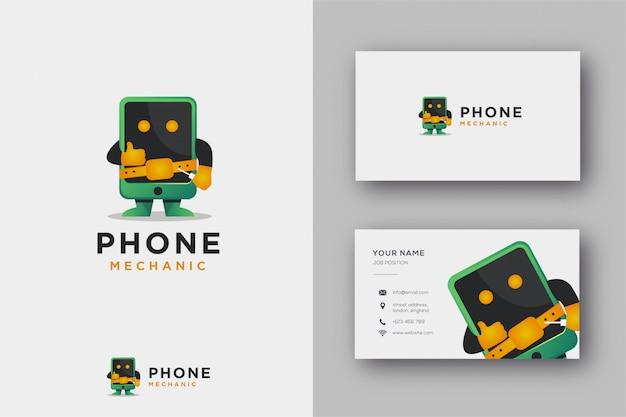 Maskottchen-logo des telefonmechanikers und der visitenkarte