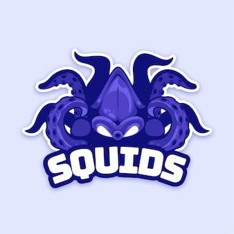 Maskottchen-logo-design mit tintenfisch