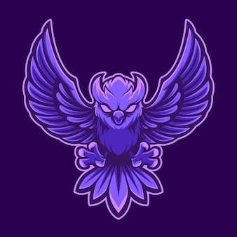 Maskottchen logo eule mit purpel bunt