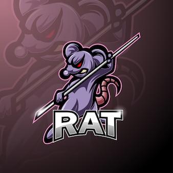Maskottchen-logo für kungfu-ratten-esport