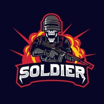 Maskottchen-logo für untote soldaten
