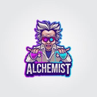 Maskottchen logo illustration professor alchemist Premium Vektoren