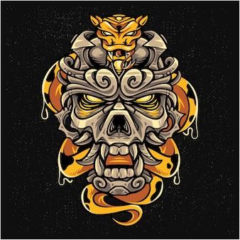 Maskottchen-logo mit kaiserschädelkopf