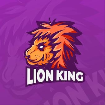 Maskottchen-logo mit könig der löwen