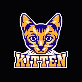Maskottchen-logo mit mit kätzchen
