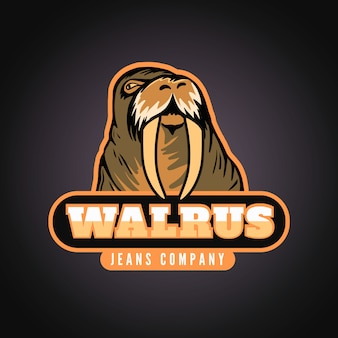 Maskottchen-logo mit walross