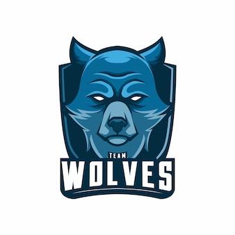 Maskottchen logo team wölfe