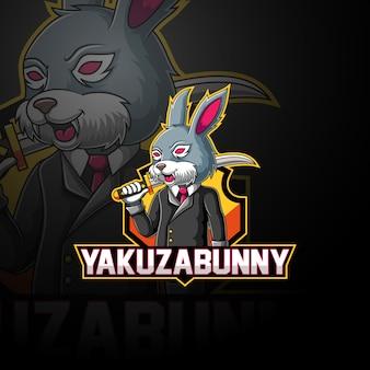 Maskottchen-logoentwurf yakuza-häschens esport