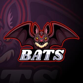 Maskottchen mit fledermaus-esport-logo
