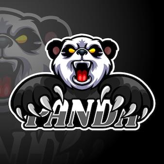Maskottchen mit panda-esport-logo