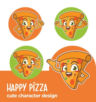 Maskottchen oder aufkleber charakter pizza designs