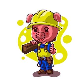 Maskottchen schwein bauarbeiter