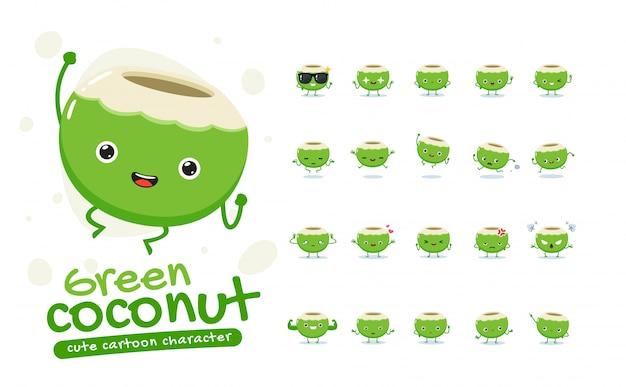 Maskottchen-set der grünen kokosnuss. zwanzig maskottchen posiert. isolierte illustration