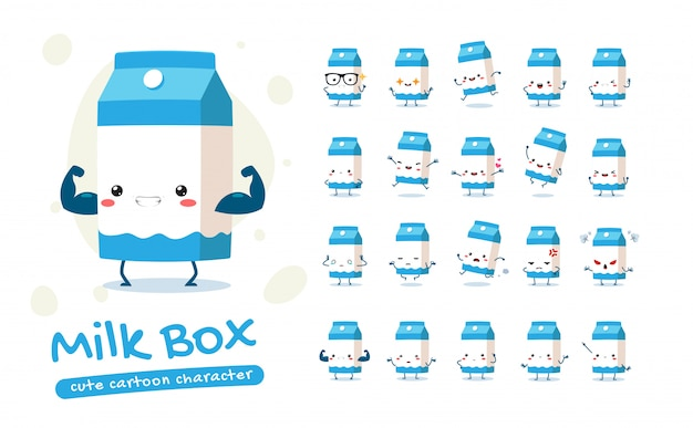 Maskottchen-set der milchbox. zwanzig maskottchen posiert. isolierte illustration
