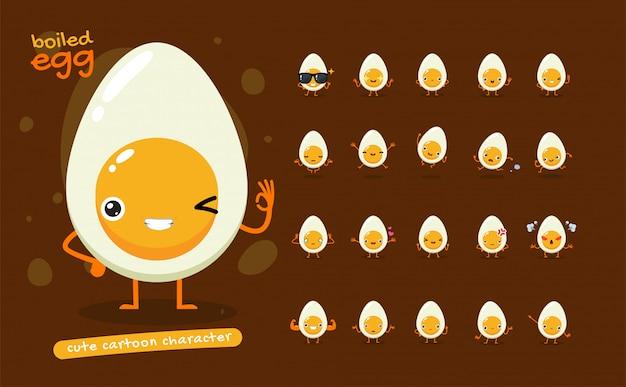 Maskottchen-set des gekochten eies. zwanzig maskottchen posiert. isolierte illustration
