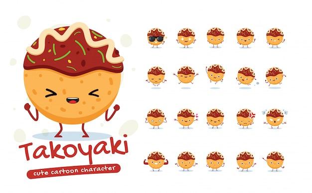 Maskottchen-set des takoyaki. zwanzig maskottchen posiert. isolierte illustration
