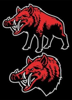 Maskottchen-set wildschwein