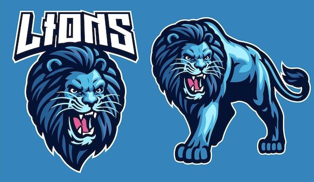 Maskottchen-sport des löwen im set