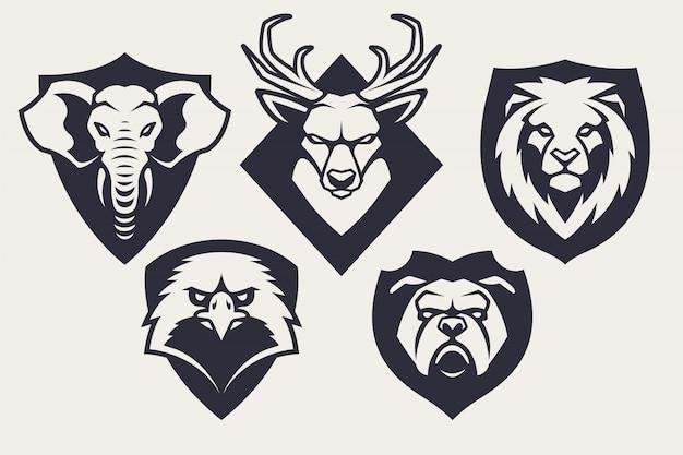 Maskottchen tiere embleme set
