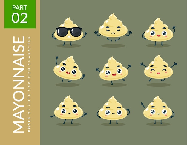 Maskottchenbilder der mayonnaise. einstellen.