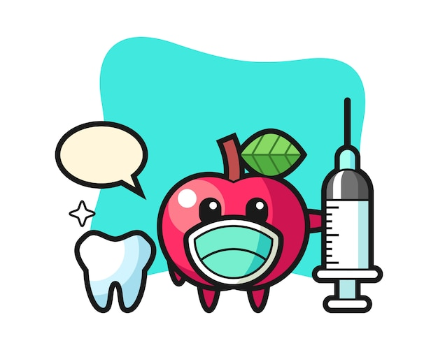 Maskottchencharakter des apfels als zahnarzt