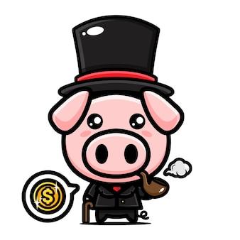 Maskottchenentwurf des niedlichen schweinecharakters