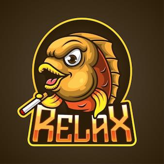 Maskottchenfisch-logo, das eine zigarette hält