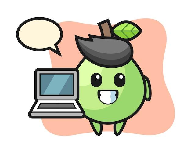 Maskottchenillustration der guave mit einem laptop, niedlicher stil für t-shirt, aufkleber, logoelement