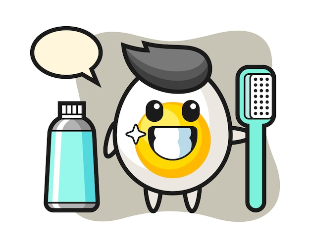 Maskottchenillustration des gekochten eies mit einer zahnbürste