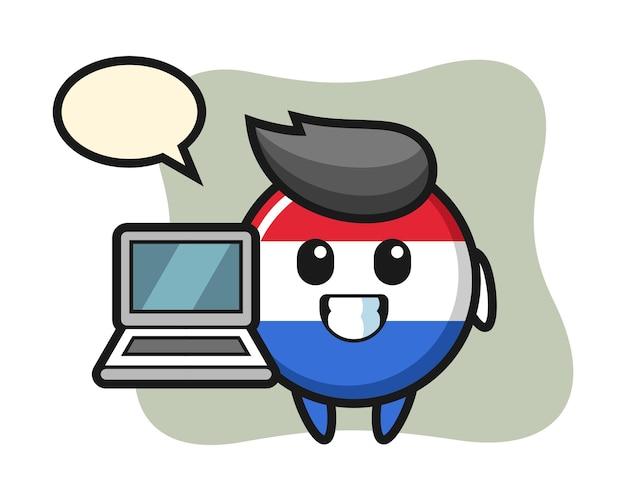 Maskottchenillustration des niederländischen flaggenabzeichens mit einem laptop