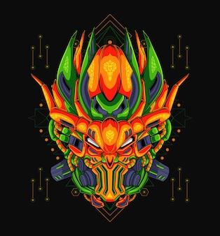 Maskottchenillustration des orangefarbenen mechas im geometrischen stil