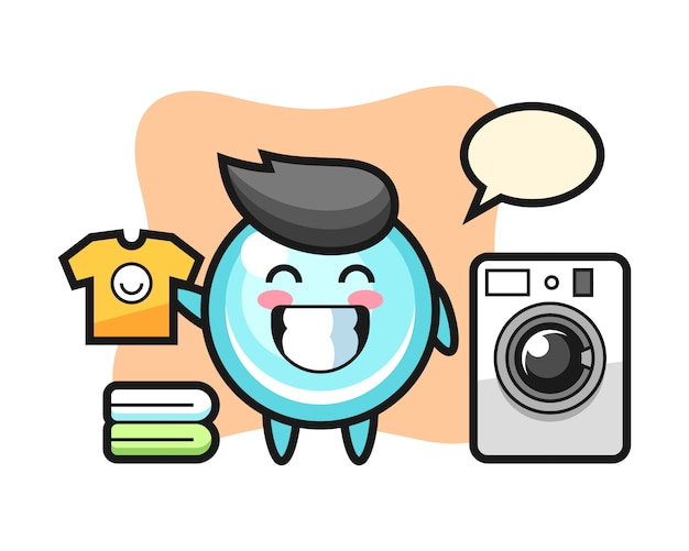 Maskottchenkarikatur der blase mit waschmaschine, niedlicher artentwurf