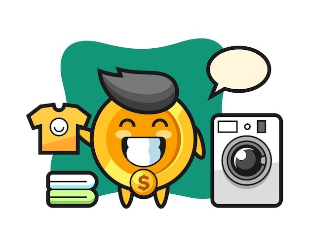 Maskottchenkarikatur der dollarmünze mit waschmaschine
