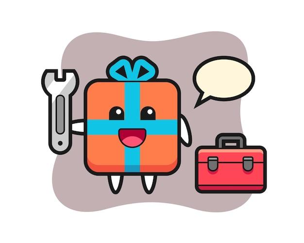 Maskottchenkarikatur der geschenkbox als mechaniker