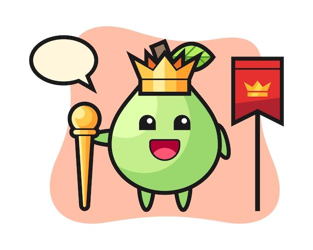 Maskottchenkarikatur der guave als könig, niedlicher stilentwurf für t-shirt, aufkleber, logoelement