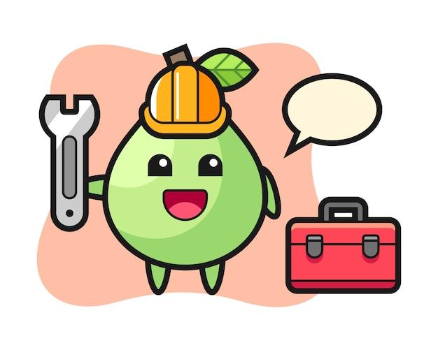 Maskottchenkarikatur der guave als mechaniker, niedlicher stilentwurf für t-shirt, aufkleber, logoelement