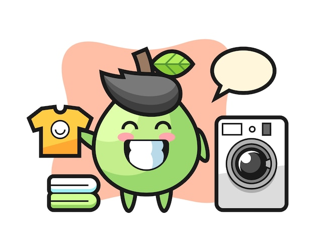 Maskottchenkarikatur der guave mit waschmaschine, niedliches artdesign für t-shirt, aufkleber, logoelement
