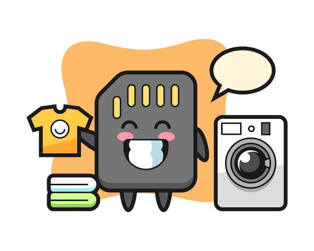 Maskottchenkarikatur der sd-karte mit waschmaschine, niedlicher artentwurf für t-shirt