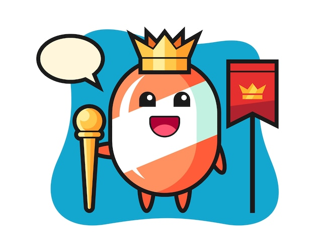 Maskottchenkarikatur der süßigkeit als könig