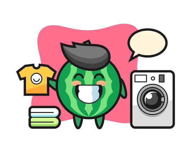 Maskottchenkarikatur der wassermelone mit waschmaschine