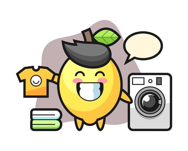 Maskottchenkarikatur der zitrone mit waschmaschine
